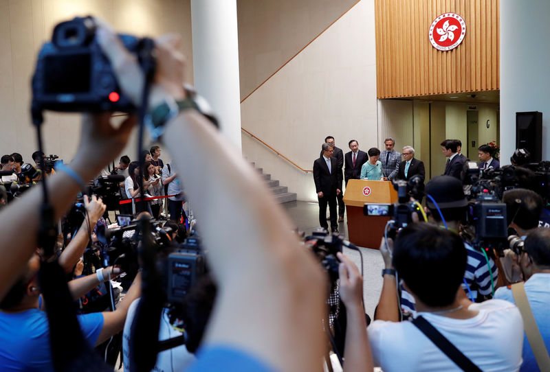 © Reuters. Hong Kong Chief Executive Carrie Lam attends a news conference in Hong Kong